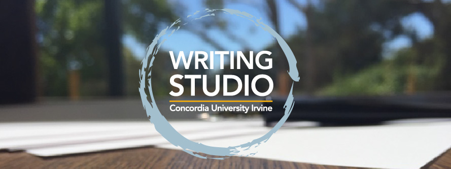 Writing Studio Logo with Library Background
