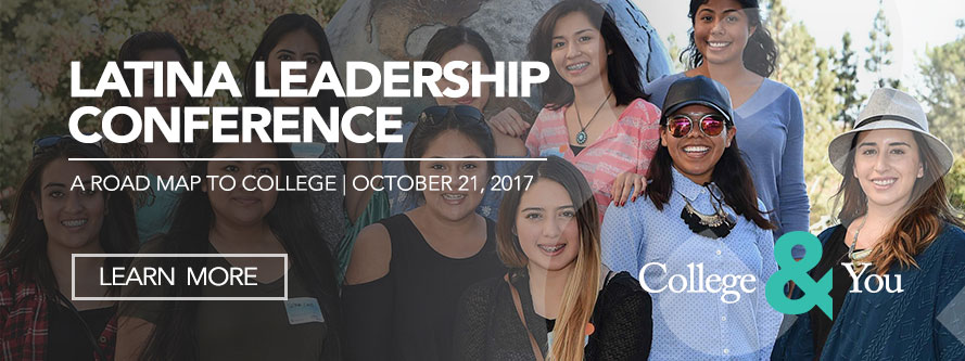 Latina Leadership Conference 2017 with group of students in background