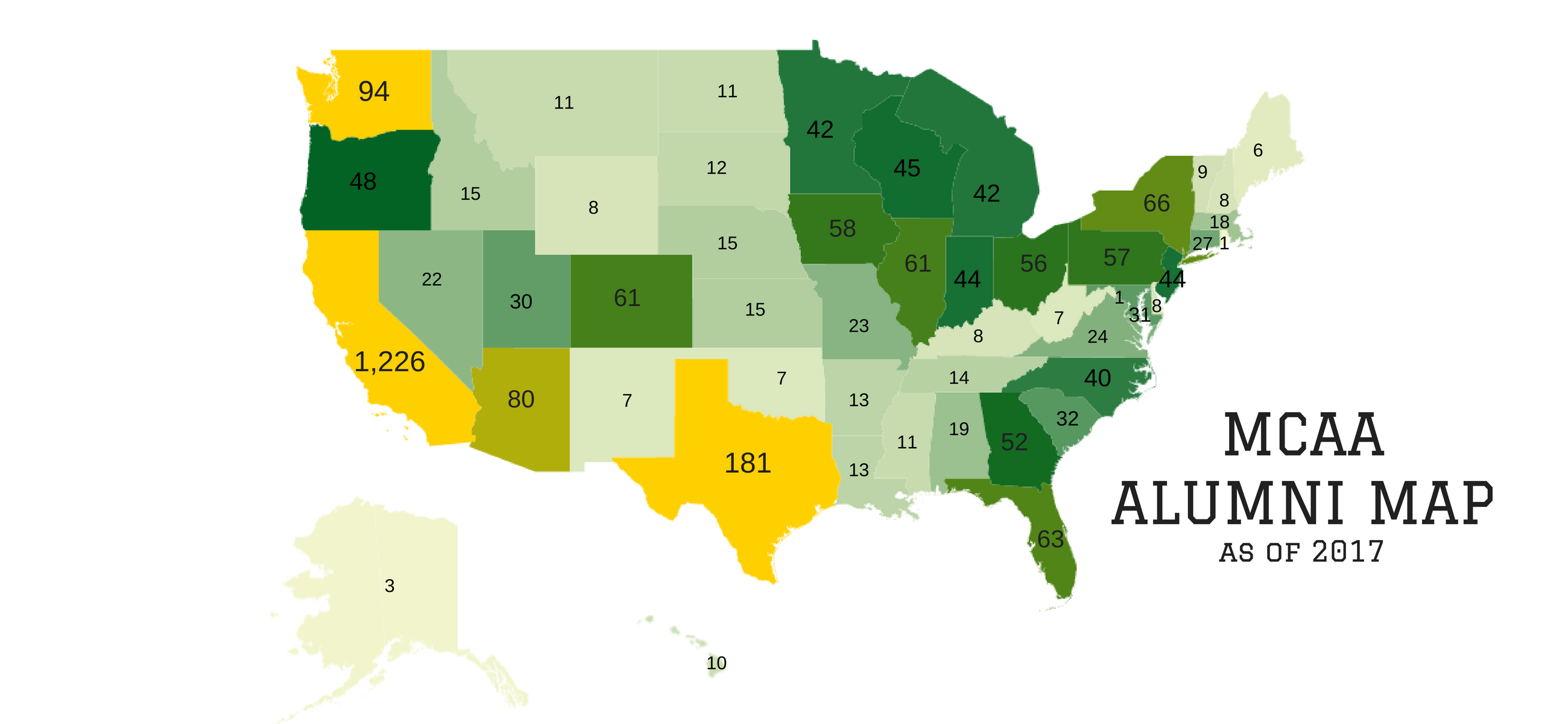 Map of number of United States alumni per state from 2017