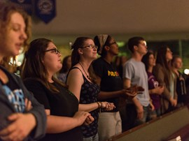 Students at late night chapel called Shout.