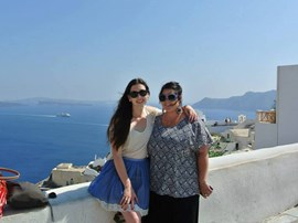 Student visiting the Greek coast.