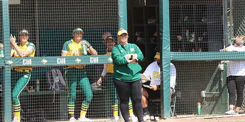 Softball Coach Rosenthal on the CUI field.