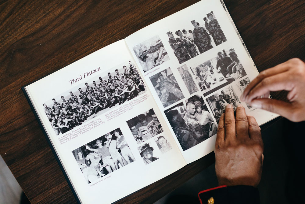 John Gallegos remenises on his past years through pictures filled with memories from his time serving in the military.