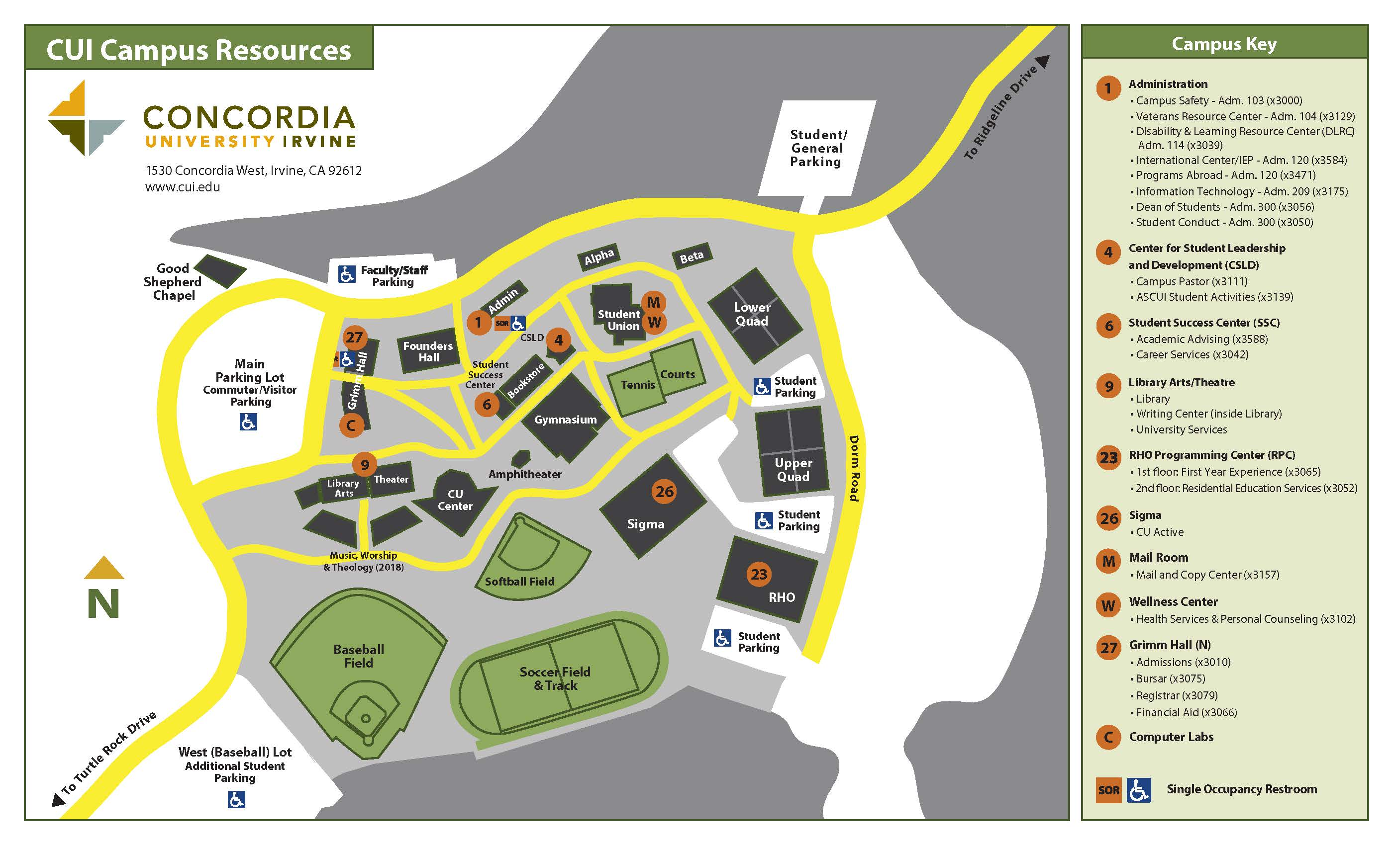 Concordia Campus Map Campus Map | First Year Experience | Concordia University Irvine