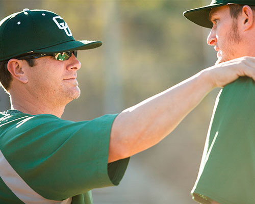 A baseball coach and athlete