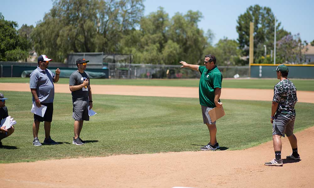 Baseball coach working with other coaches