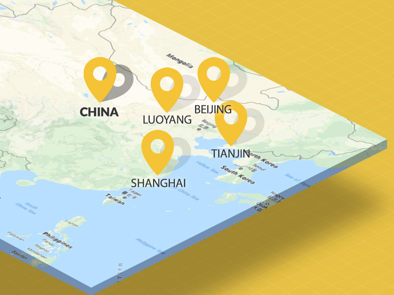 Map of locations in China