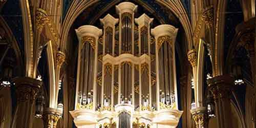 A closeup of the pipes on the majestic Murdy Family Organ