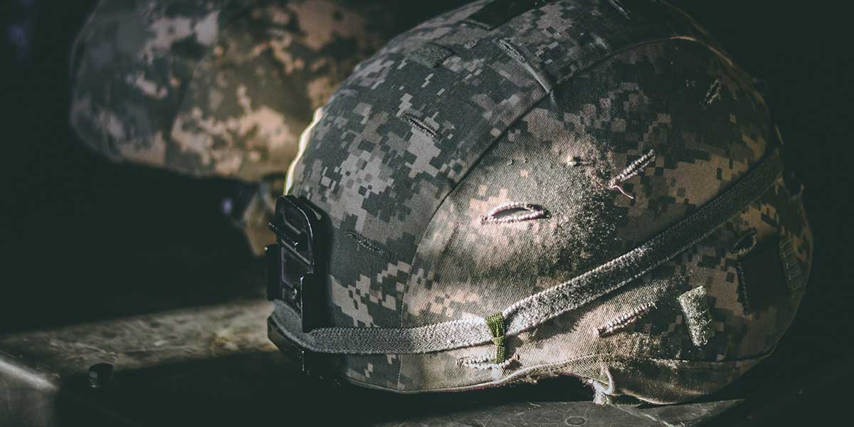 Camouflage helmets from the armed forces