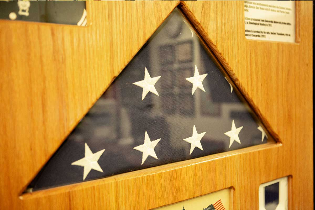 Folded American flag in a shadow box