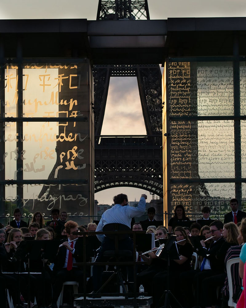 June 4 - Paris: The D-Day Memorial Wind Band performs at the Eiffel Tower (pc: Sam Held)