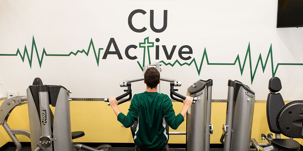 Student working out at CU Active