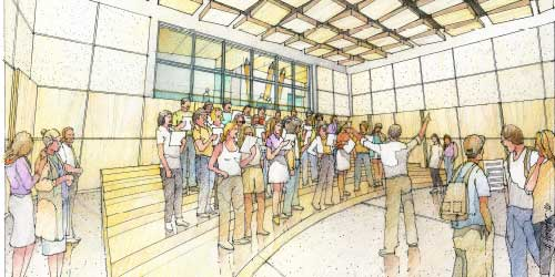 An architect's drawing shows a choir singing inside a modern practice room