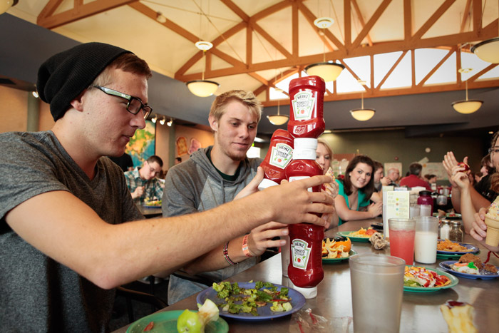 Dining Commons Ketchup Stacking