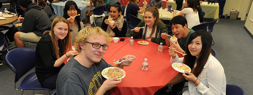 ESL students at a Noodle Night on campus